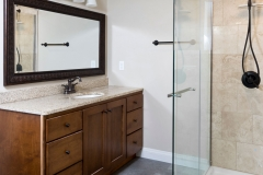 Basement Remodeling Finished Bathroom with Full Shower in Green Bay, WI