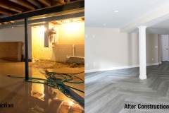Before and After Plumbing Underground for Finished Kitchen in Basement Remodel in Green Bay, WI